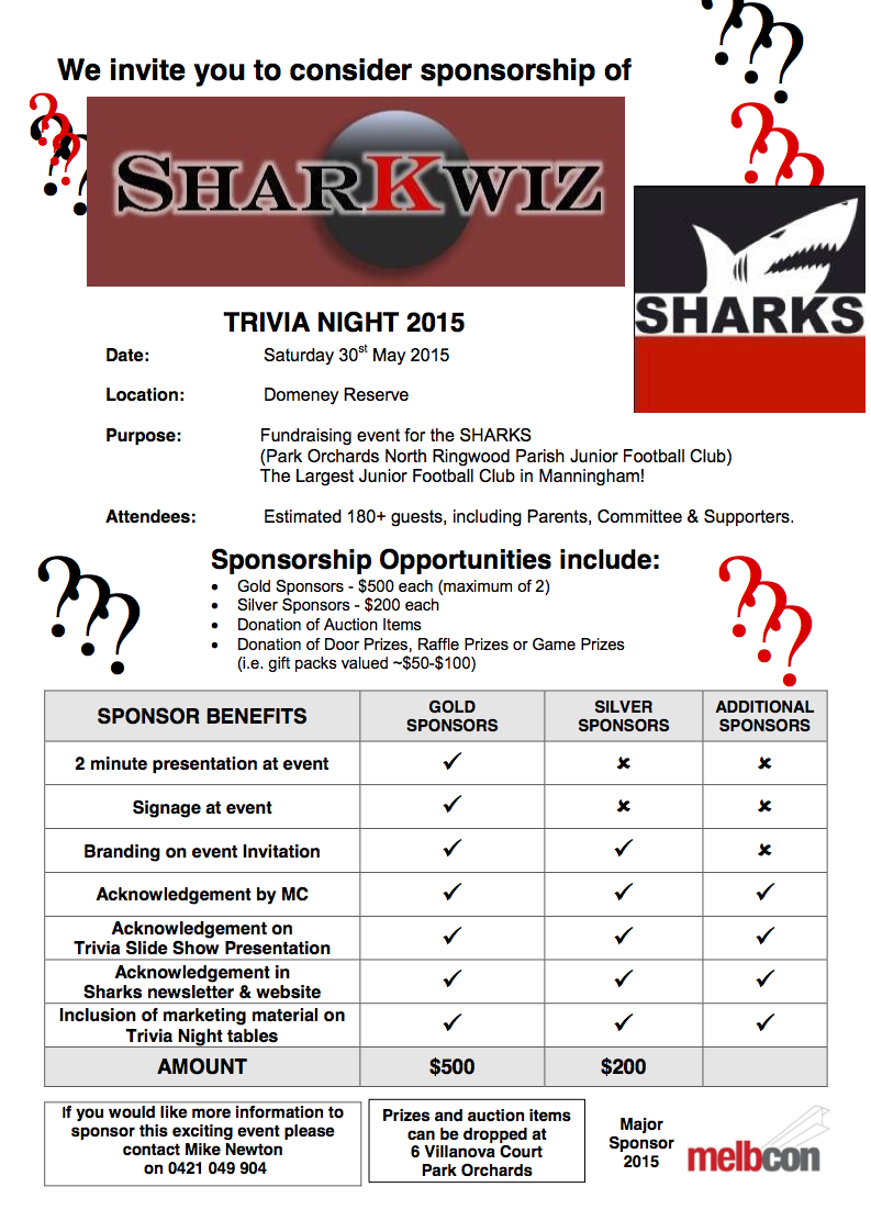 SharKwiz Sponsorship Flyer