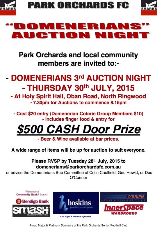 Sharks Domenerians  Auction Poster 2015 150713 pdf