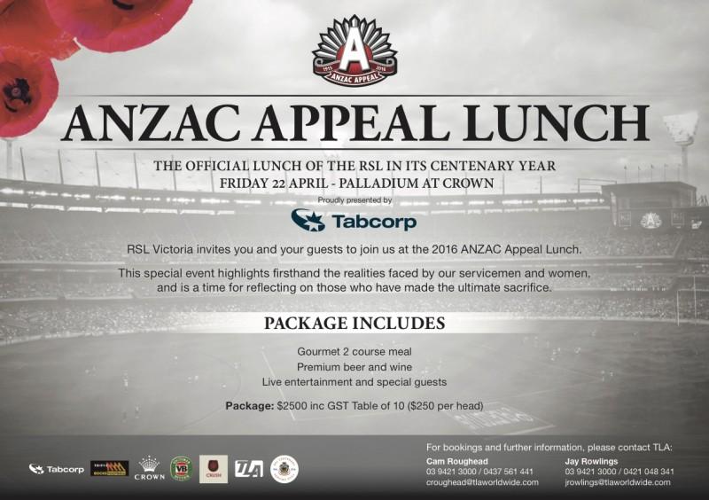 2016 ANZAC Appeal Lunch