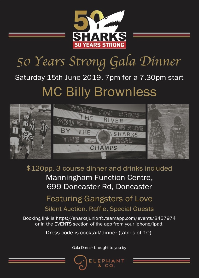 50 Years Strong Gala Dinner, Saturday 15th June 2019, 7pm for a 7:30pm start, MC Billy Brownless